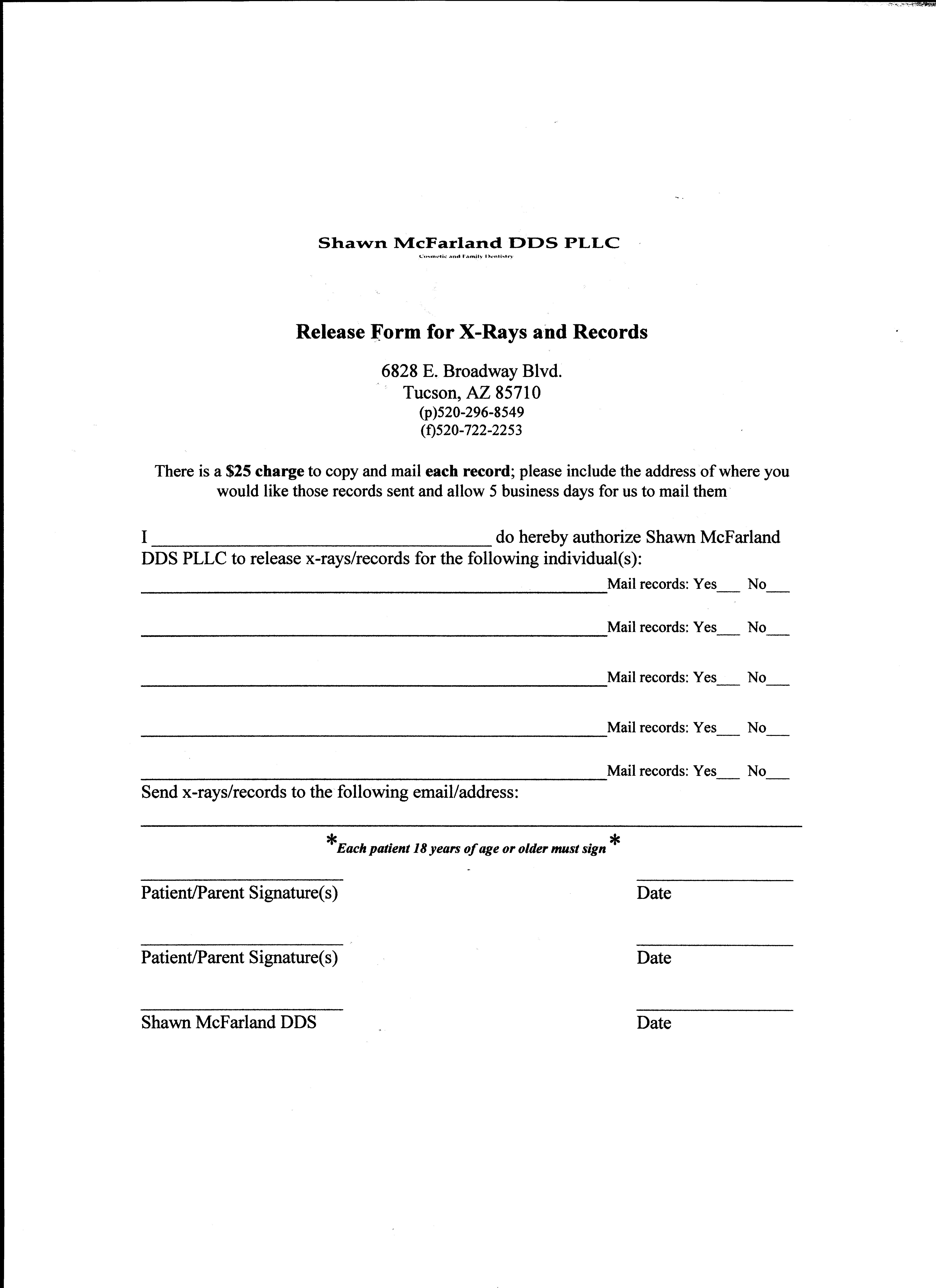Dental Xray Release Form